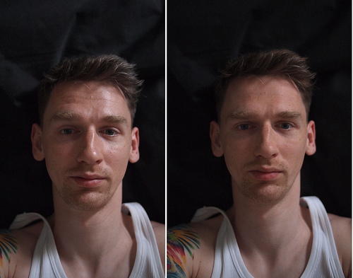 A photograph of a man showing the effect of rotating a polarizing filter.