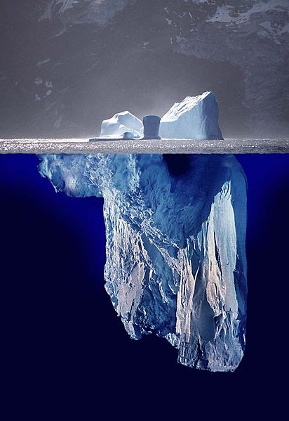 Photo-montage of icebergs giving an impression of how much ice in under the water compared with the amount that's visible above the surface