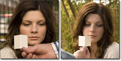 Example of assessing the direction of the light using a card during a natural light portrait photography shoot