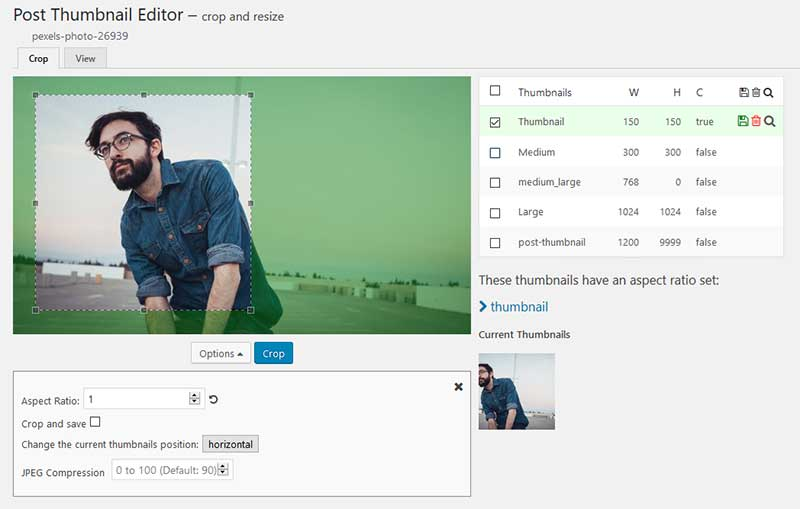 Screenshot of the improved cropping available by using the WordPress Post Thumbnail Editor