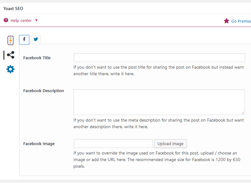 Image showing Yoast SEO's feature of being able to specify different images for Facebook and Twitter
